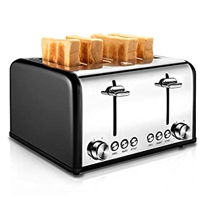 REDMOND 4 Slice Toaster Stainless Steel, Colour Blocking Toaster Auto with 7 Browning Cancel Reheat Defrost Removable Crumb Tray, 1630W