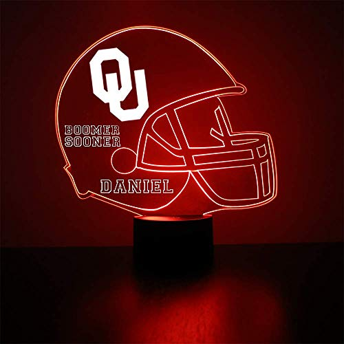 Oklahoma Sooners Football Helmet Sports Fan Lamp / Night Light - LED - Personalize for Free - Featuring Licensed Decal