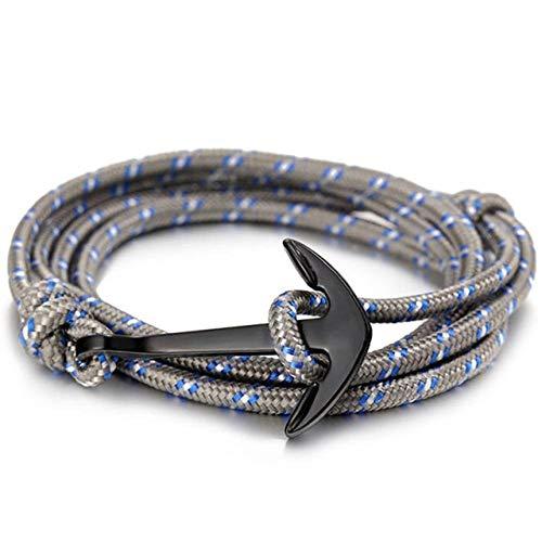 Pulsera de Ancla Negra Cadena de Cuerda de Supervivencia para Hombres Pulsera de Amistad de Cuero Hombres y Mujeres 498