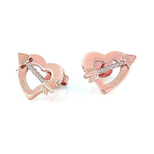 Guess Across My Heart Earrings Ube79123 Plated Stainless Steel Rose Gold Heart Arrow Logo