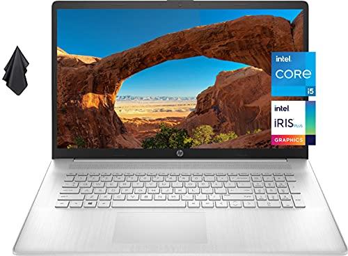 2021 Newest HP 17 Laptop, 17' HD+ Anti-Glare Screen, 11th Gen Intel Core i5-1135G7, Intel Iris Xe Graphics, 16 GB RAM, 1 TB PCIe SSD, Long Battery Life, Webcam, Mics, Win10, Silver + Oydisen Cloth