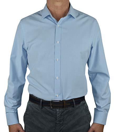 1stAmerican Elegante Camicia Manica Lunga da Uomo 100% Cotone Silk Touch Regular Fit Collo all'Italiana - No Stiro TG Fino alla XXXL