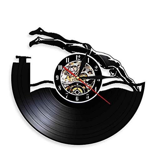 Natación Discutir en Vinilo Diseño de Reloj de Pared Moderno Deporte Decorativo Decorativo Arte de Pared Reloj de Pared 3D Reloj de Pared Hecho a Mano Reloj de Pulsera Presente
