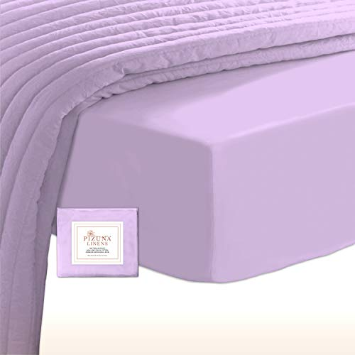 Soft 400 Thread Count Cotton Queen Fitted Sheets Lavender 1pc, 100% Long Staple Cotton Fitted Sheet, Soft Sateen Bed Fitted Sheets fits Upto 15 inch (Lavender 100% Cotton Deep Fitted Sheet Queen)