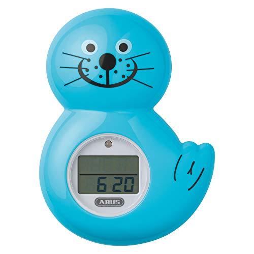 ABUS Termómetro digital Junior Care - Robbi | Seguridad del bebé | Bañera y ducha | Temporizador | Reloj | Bañera | Turquesa | 73157