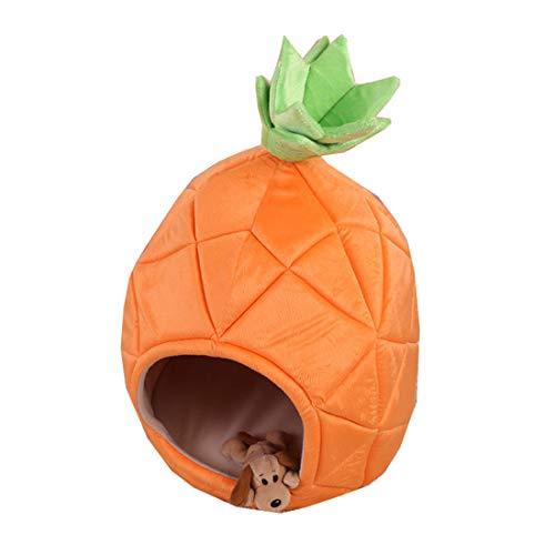 Gmjay Haustierbett Orange Big Ananas-Haustier-Haus-Hundehaus-Plüsch-Haus-Weiches Und Bequemes Katzen-Hundedonut-Bett