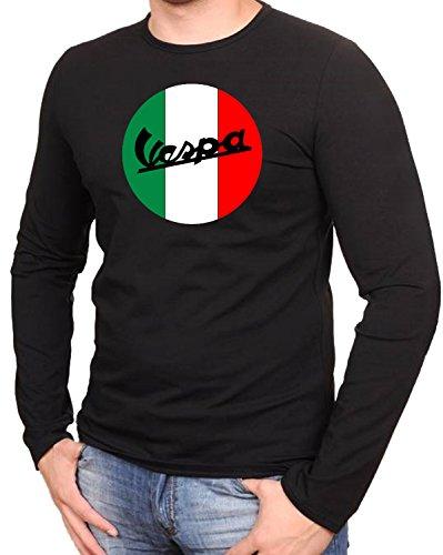 Vespa Scooter Fun Schwarze Camisetas de Manga Larga T-Shirt- 558LA