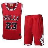 JX-PEP Set di Maglie da Pallacanestro Uomo, 23# Pannelli da Basket Summer Camicia Ricamata Camicia da Camicia, Rosso, Bianco, Nero,Rosso,XL