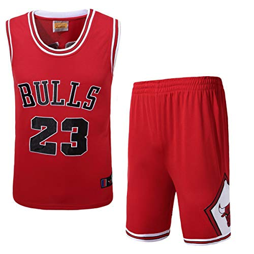 Herren-Basketball-Trikots Set - Michael Jordan # 23 Chicago Bulls Basketball-Trikot Sommer gesticktes Hemd Weste Shorts, Rot, Weiß, Schwarz,Rot,L