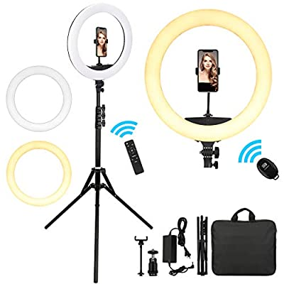 """18"""" Ring Light with 75"""" Tripod Stand, Livelit Selfie Ring Light 3200K-5500K Color Temperature, Flexible Phone/Camera Holder for Live Streaming/Makeup/Photography/YouTube Video/TIK Tok/Vlog,etc from Livelit"""