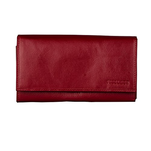 Finelaer Red Leather Clutch Purse Envelope Bifold Carryall Wallet