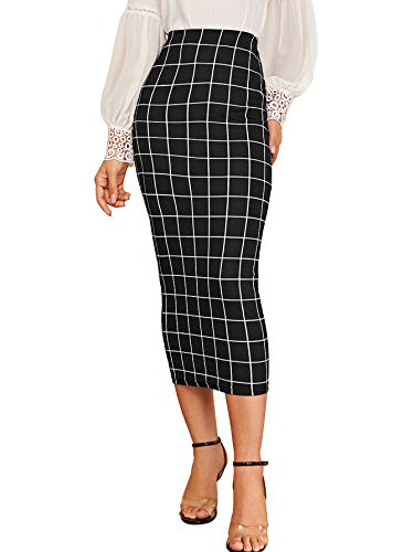 Verdusa Women's Elegant Plaid Elastic Waist Bodycon Midi Skirt Black M