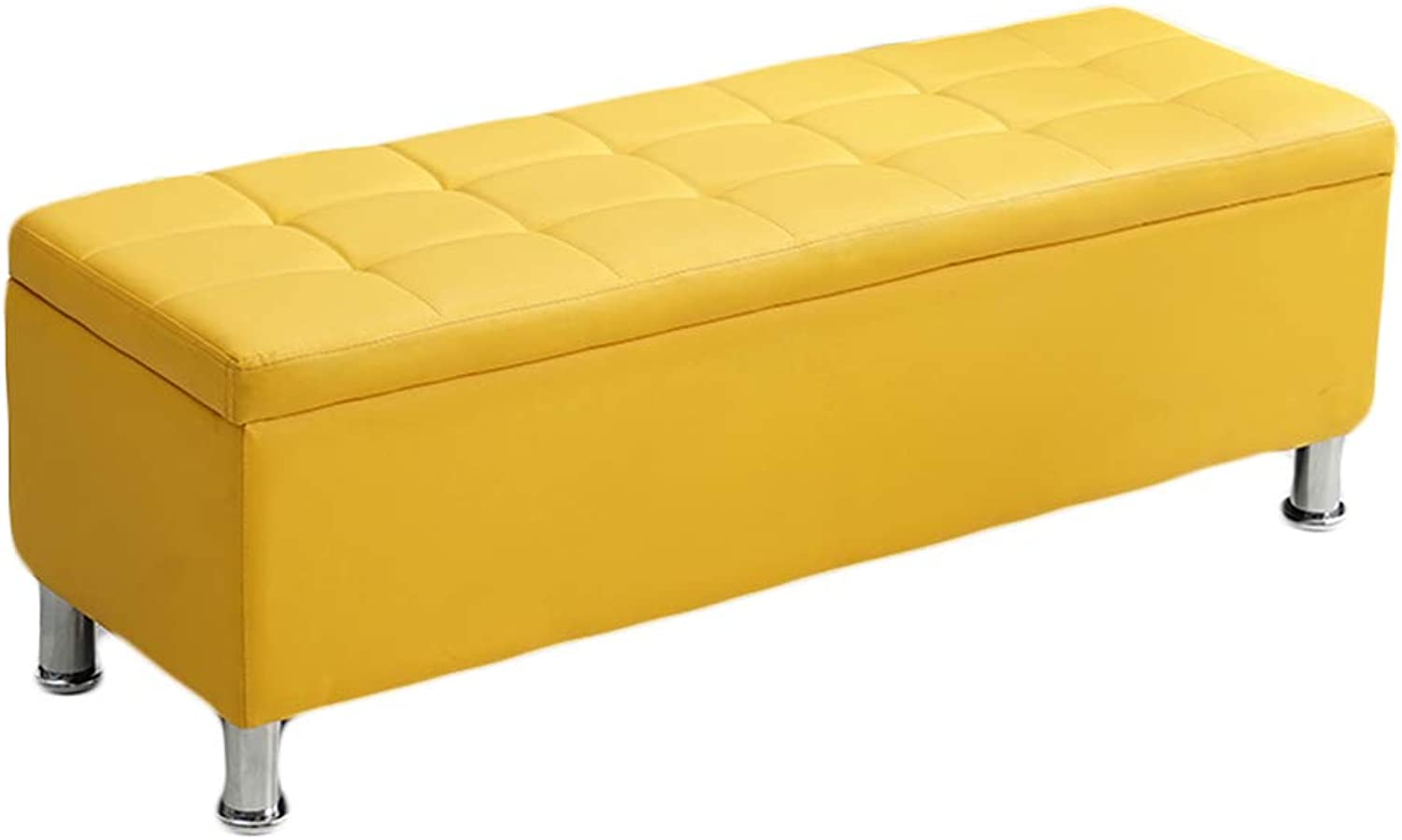 CAIJUN Footstool Multifunction Soft Storage Sofa Solid Wood Frame Thick Sponge Comfortable Non-Slip Gift, 12 colors, 4 Sizes (color   Yellow, Size   40X40X45CM)