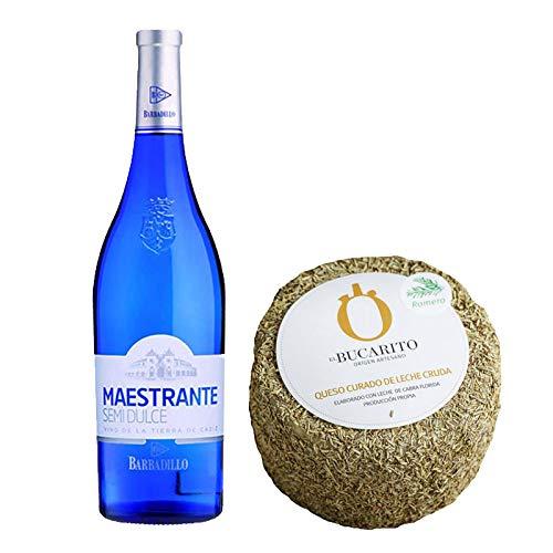 Pack de Vino blanco Maestrante y Queso Curado de Leche Cruda en Romero - Vino de 75 cl y Queso de 900 g aprox - Mezclanza