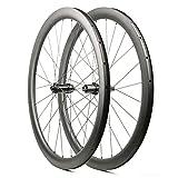 Juego de Ruedas de Carbono 700c Freno de Disco Bicicleta de Carretera Ruedas de ciclocross 45 mm 24/24 Agujeros 1549g (Freno de Disco de 6 Pernos)