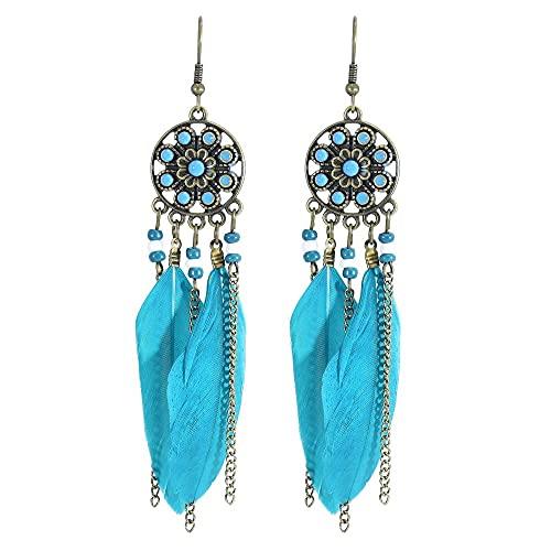 Tribales Böhmischen Feder Baumeln Ohrring Indischen Schmuck Gypsy Quaste Drop Ohrringe für Frauen-BL
