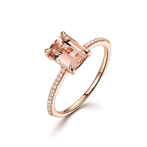 Daesar Damen Ring Hochzeit 18K Rotgold Rechteck Morganit 1.35ct Verlobungsring Ring Rosegold mit Diamant Echt Große 58 (18.5)