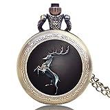 JLySHOP - Reloj de bolsillo de cuarzo con diseño de tótem, de juego de tronos, reloj de bolsillo memorable, regalo