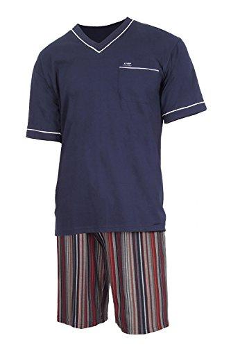 e.VIP® Herren Schlafanzug Olaf S 202 aus Reiner weicher Baumwolle, in Farbe Marine/Bordeaux, in Größe L