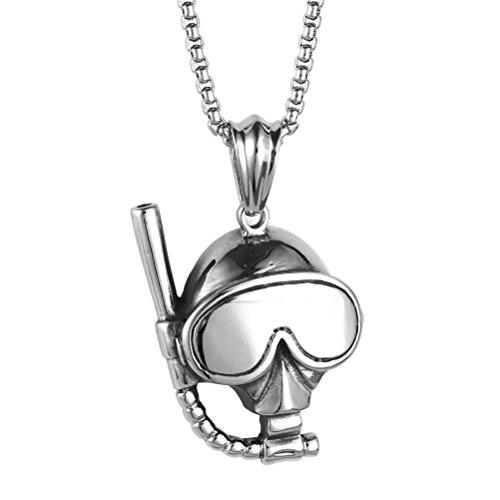 PAURO Herren Edelstahl Silber Tauchen Gläser Und Schnorchel Maske Charm Anhänger Halskette Mit Kette 22 Zoll