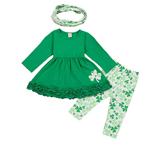 Toddler Baby Girls St. Patricks Day Outfits Ruffle Long Sleeve Top Dress +Shamrock Print Pants+Scarf 3Pcs Clothes (Green,1-2T)