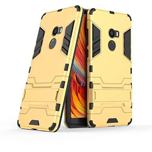 COOVY® Funda para Xiaomi Mi Mix 2 de plástico y Silicona TPU, extrafuerte, con protección contra Golpes, Funda con función Atril | Color Oro