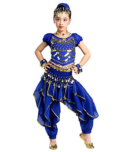 Grouptap Bollywood indische Kinder kuchipudi bharatanatyam Prinzessin Bauchtanz blau 2-teilige Welle Hosen Kostüm Outfit Kinder Mädchen (Blau, 130-150 cm)