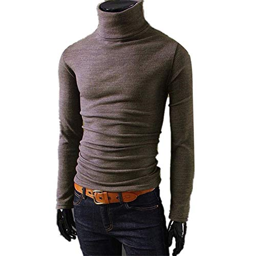 koweis Nieuwe Mens Truien Man Coltrui Effen Knitwear Slim Fit Kleding Grijze Trui