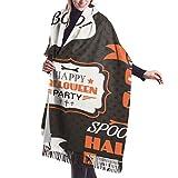 Halloween Vintage Set Etiquetas Cintas Chal Envoltura Invierno Caliente Bufanda Capa Grande Bufanda De Gran Tamaño Bufandas Para Mujeres 77x27 pulgadas