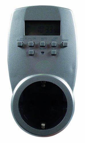 REV ZEITSCHALTUHR STECKDOSE digital ǀ Schaltuhr mit Countdown-/ Zufallsfunktion ǀ mit integrierter Kindersicherung ǀ 20 Tages-/ Wochenprogramme 140 Ein-/ Ausschaltzeiten ǀ für den Innenbereich ǀ Farbe: Silber