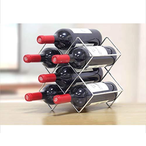 LYQQQQ Estante De Metal For Vino 6 Botellas De Gabinete De Mostrador For Gabinete De Vino, Aspecto Requisitos De Montaje Mínimos.