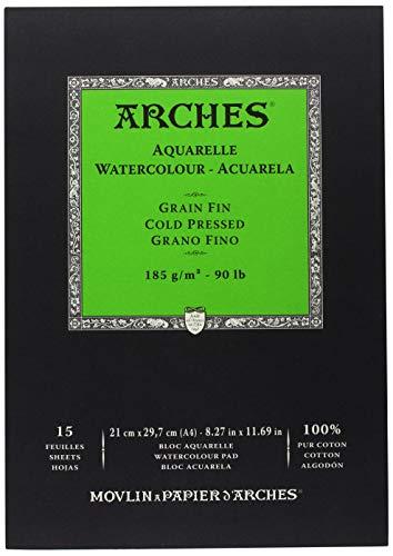 Arches 1795218 Aquarell Block kopfgeleimt 15 Blatt - A4, 185g/m² Feinkorn-Naturweiß für Wasserfarben, Acrylfarben und Gouache