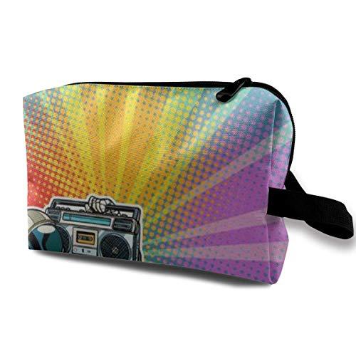 Bolsa de maquillaje con bolsa de cosméticos para astronauta con Boombox o Pop Art Retro multifuncional bolsa de viaje Kit de almacenamiento