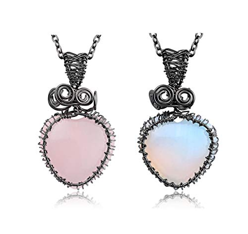 JOVIVI Rose Quartz Opalite Crystal Heart Stone Necklace Women Jewellery Natural Small Love Hearts Crystal Gemstone Healing Pendant Necklace,Pack of 2
