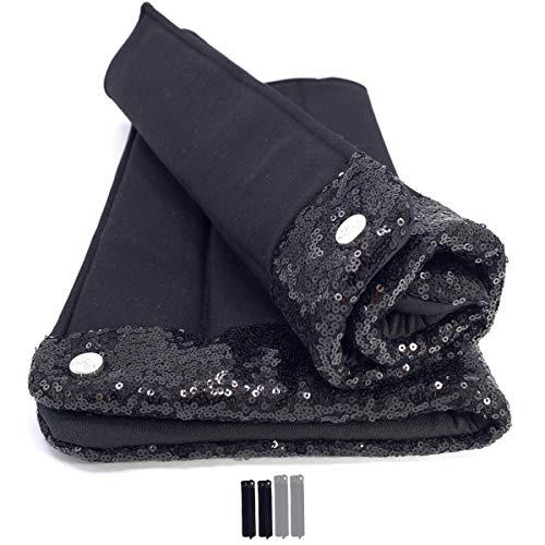 - Handgefertigte Bandagierunterlagen (2er Set) Black Soul mit stilvollen schwarzen Glitzer-Pailletten | Gr. Warmblut WB vorne | 40x45cm | Schnelltrocknend | Atmungsaktiv | Elastisch