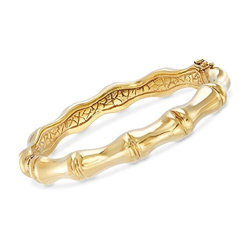 Ross-Simons Italian 18kt Yellow Gold Over Sterling Silver Bamboo Bangle Bracelet For Women 7, 8 Inch Made in Italy Bamboo Silver Bracelet Bangle