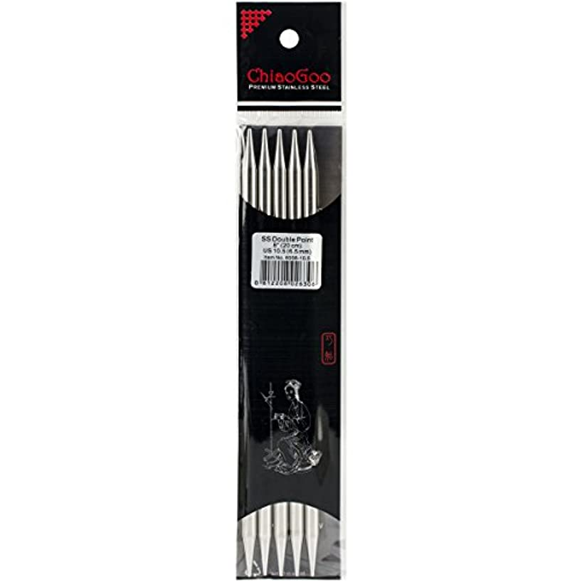 ChiaoGoo 8-Inch Double Point Stainless Steel Knitting Needles, 10.5/6.5mm