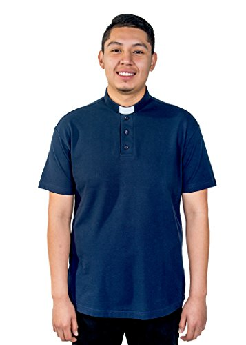 Mercy Robes Mens Clergy Polo Short Sleeves TAB Shirt (Navy) (6XL, Navy)