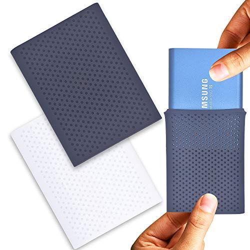 Larcenciel Funda Protectora a Prueba de Golpes para Samsung T5/T3/T1 SSD, 2 PC Silicona Estuche de Viaje para Samsung T5/T3/T1 Unidad Externa de Estado sólido portátil(250G/500G/1T/2T)