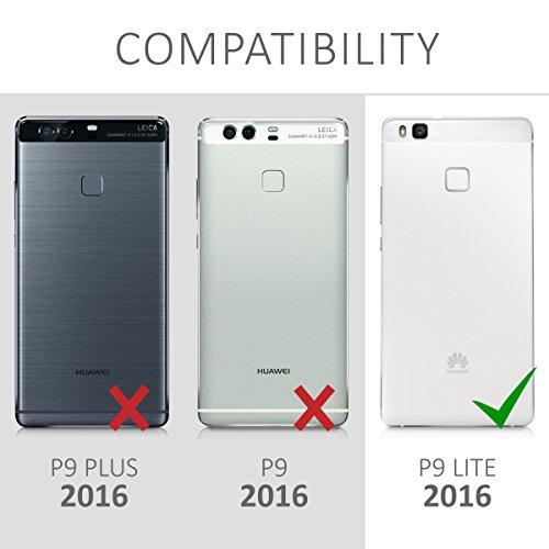 kwmobile Huawei P9 Lite Hülle - Handyhülle für Huawei P9 Lite - Handy Case in Don't Touch My Phone Design Weiß Schwarz - 6