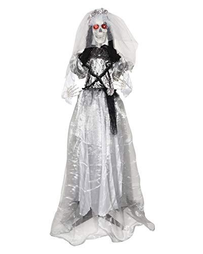 Horror-Shop Lebensgroße Halloween Skelett Braut Standfigur 160cm