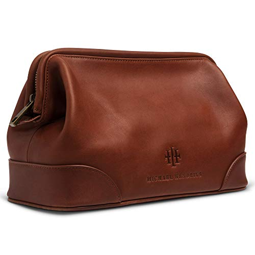 """Executive Leather Toiletry Bag for Men, Large 11"""" – Leather Dopp Kit for Men - Wash Bag, Shaving Kit, Toiletries, Grooming Supplies, Gift, Travel Mens Leather Toiletry Bag - Real Genuine Brown Leather"""
