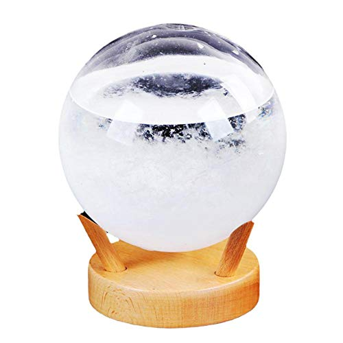 Tvator Storm Glass Weather Forecaster Stylish Innovative Desktop Weather Predictor with Wooden Base Ball Small Weather Station for Home Office