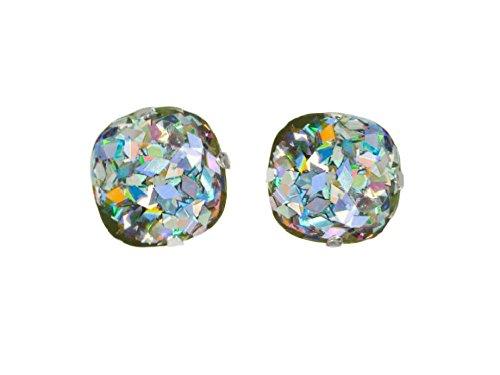 Stocking Stuffer Christmas Gift for Women 14 mm Stainless Steel Sparkly Post Earrings Sliver Holographic Glitter Earrings