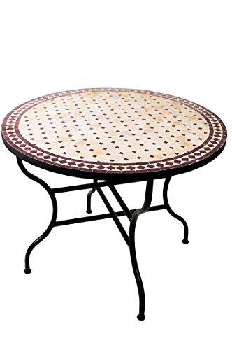 ORIGINAL Marokkanischer Mosaiktisch Gartentisch ø 100cm Groß rund klappbar | Runder klappbarer Mosaik Esstisch Mediterran | als Klapptisch für Balkon oder Garten | Marrakesch Natur Bordeaux 100cm