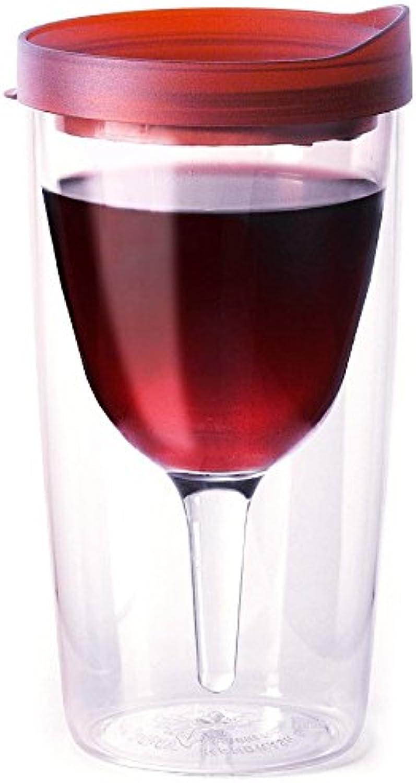 Vino2Go juego de 4doble parojo aislante acrílico vaso de vino con Merlot Slide parte superior tapas 10oz