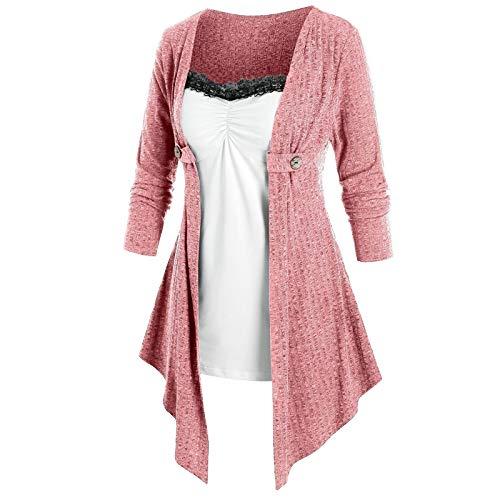 Janly Clearance Sale Vestidos para mujeres, mujeres otoo empalmado dos vestidos falsos con color y mangas largas, manga larga vestido impreso, para vacaciones Boda Birhday Party (Rosa-XXL)