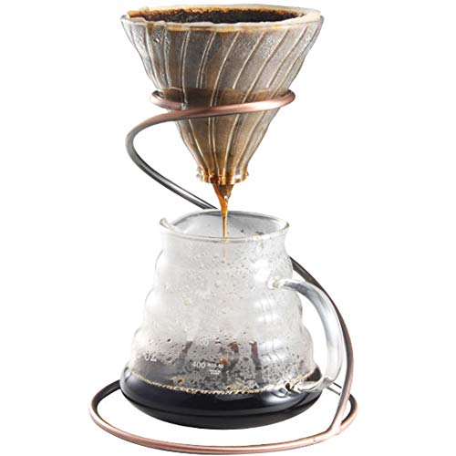 TINTON LIFE Reusable Metal Pour Over Coffee Dripper Stand(Bronze)Circinate Shaped with Drip Pot and Coffee Filter Dripper