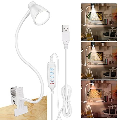 Lámpara de Mesa USB con Pinza, Luz de Clip Enchufable, 28 LED, Luz de Lectura Protección Ocular con 3 Modos de Luz y 10 Brillo Ajustable, 360 °Cuello Flexible para Libro, Estudio y Trabajo(Blanco)