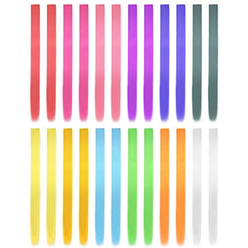 BELICOO Farbiger Haarverlängerungs Clip, 24 Stück Multi-Farben Haarsträhnen zum Einklipsen 60cm Haarteile Echthaar für Haar Regenbogen Farbe Gerade Synthetisch Haarteil für Mädchen und Kinder